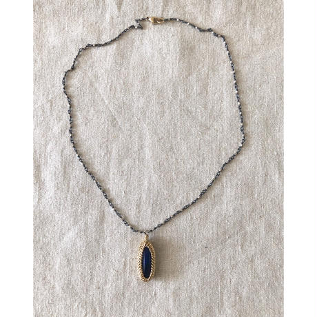 Ishi jewelry / lapis with oxidized silver necklace / イシジュエリー