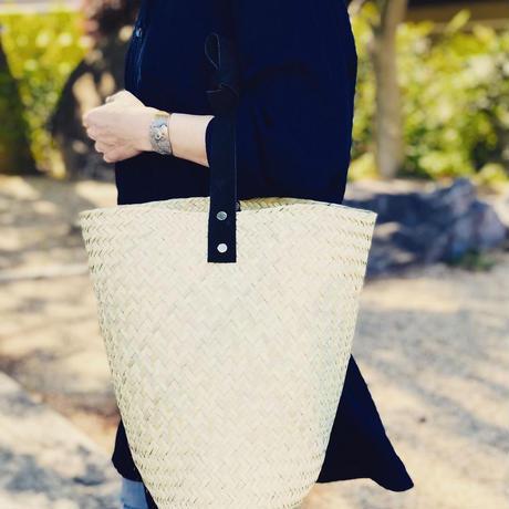 pips  / palm leaf basket drum bag with black  leather handle  / ピップス/ パームリーフバスケットドラムバッグ/ブラック