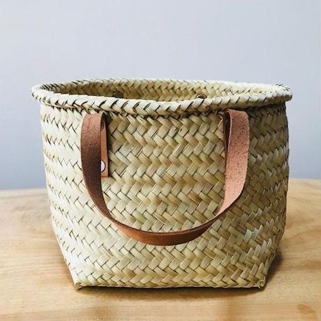 pips /  palm leaf basket tote bag with leather handle / brown   / ピップス/ パームリーフバスケットバッグ/ブラウン