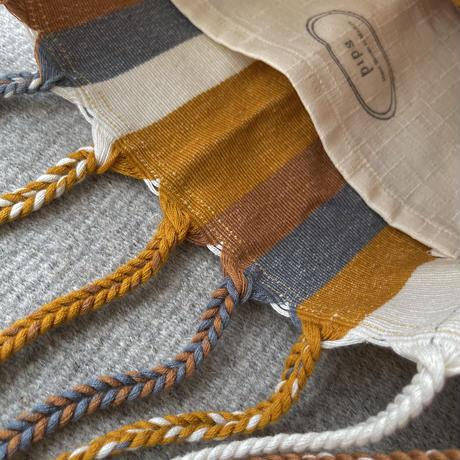pips / cotton handwoven hammock bag /  brown mustard