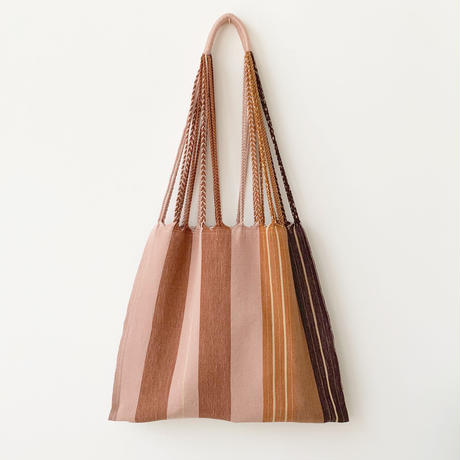 pips / cotton handwoven hammock bag / brown  asymmetry