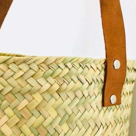 pips  / palm leaf basket drum bag with brown leather handle  / ピップス/ パームリーフバスケットドラムバッグ/ブラウン