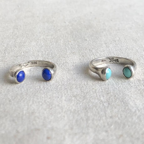 ishi jewelry /double stone ring / turquoise / lapis /silver ring