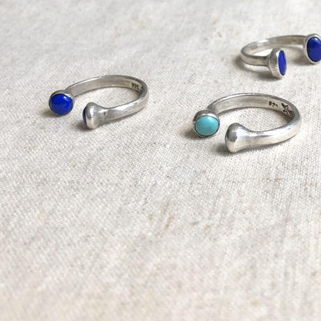 ishi jewelry /double stone ring / turquoise / lapis /silver ring / イシジュエリー/ ダブルストーンシルバーリング
