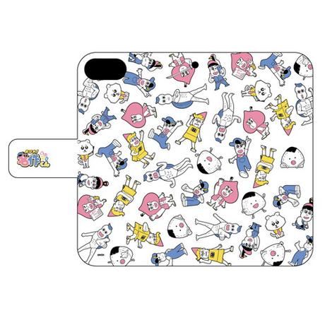 手帳型スマホケース(iPhone6/6s/7/8兼用)(通常イラスト・白)