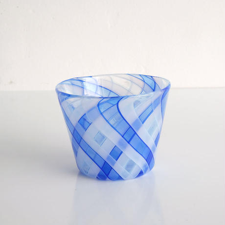 石山瞳/チェックグラス Blue  (ISHI-02)