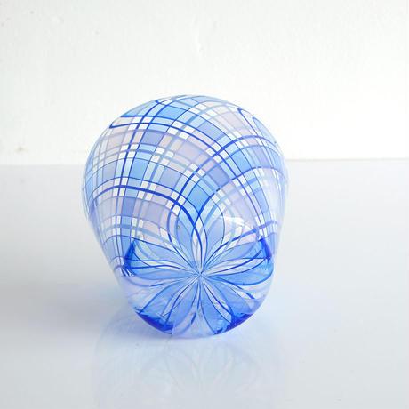 石山瞳/チェックグラス Blue  (ISHI-03)