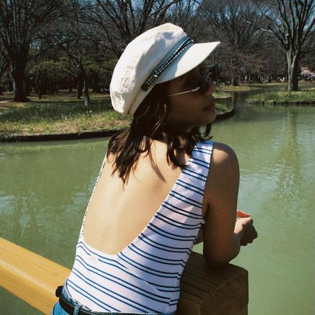 【BRIXTON WOMENS】COCO BODYSUITS /ボーダーボディスーツ/ COLOR:WHITE