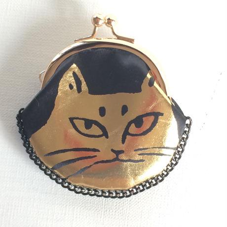 がま口ブローチ猫 ゴールド✖︎ブラック