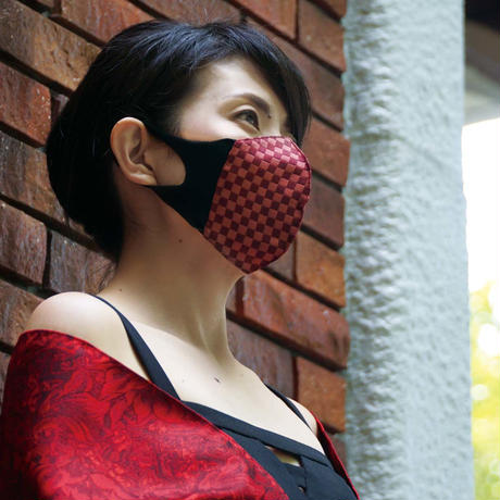 博多織立体型エチケットマスク『kurusyu~nai』 市松 NO.22「パープル」