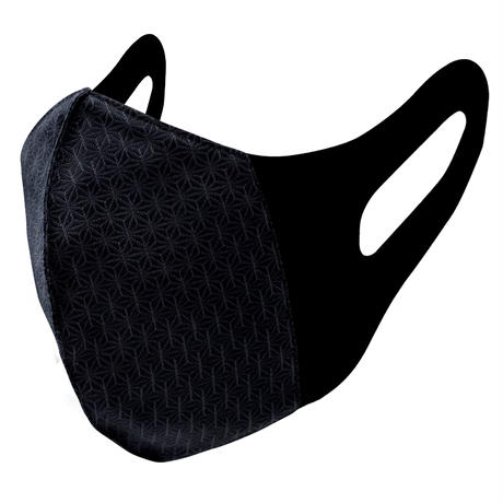 博多織立体型エチケットマスク『kurusyu~nai』 麻の葉  NO.20「ブラック」