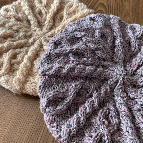 【編み図】鹿の子ダイヤのわんことお揃いベレー帽