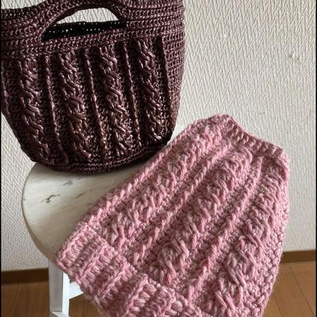 【編み図】かぎ針でも編めるアラン模様のわんこニット(2パターンあり)