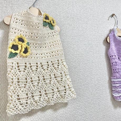 【編み図】ひまわり咲く ドッグワンピース【かぎ針】