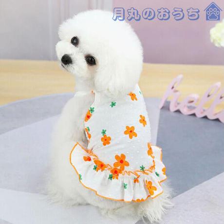 ペット服 犬服 春夏 ワンピース  花柄 オレンジ イエロー かわいい