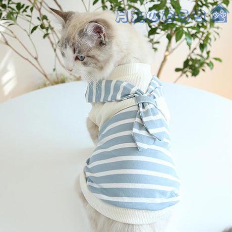 ペット服 犬服 春夏 Tシャツ  ボーダー りぼん おしゃれ かわいい