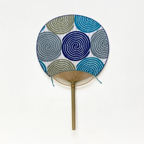 房州うちわ [蚊取り線香] 青系 / Round Fun -Mosquito coil-