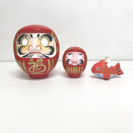 手ぬぐい [だるま×鯛乗り子] 紺 / Tenugui -Daruma doll×Zodiac papier mache:rat-