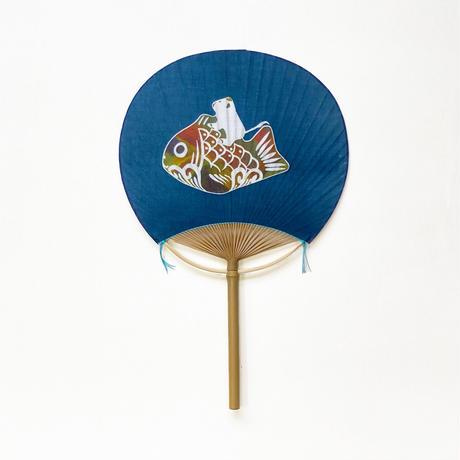 房州うちわ [鯛乗り丑] 紺 / Round Fun -Zodiac papier mache :Ox-