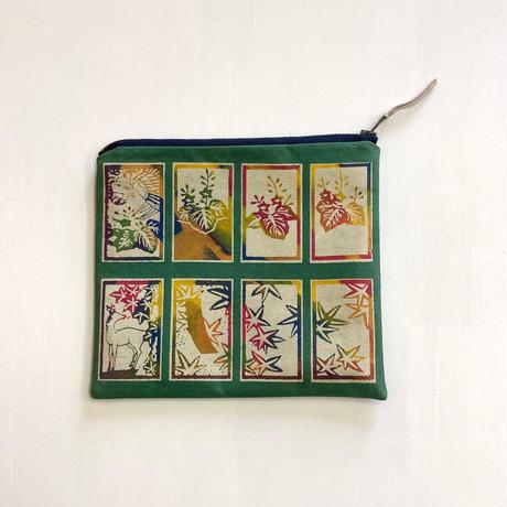 ポーチ [花札] 緑 / Zipper Pouch -Hanafuda(Japanese Playing cards)-