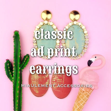 ad print earring(gorgeous type)/navy