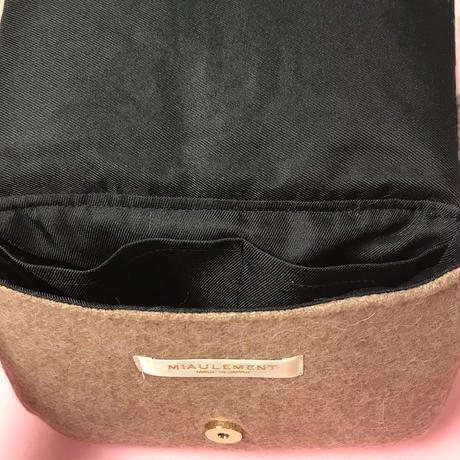 color block fakefur purse/pink&beige
