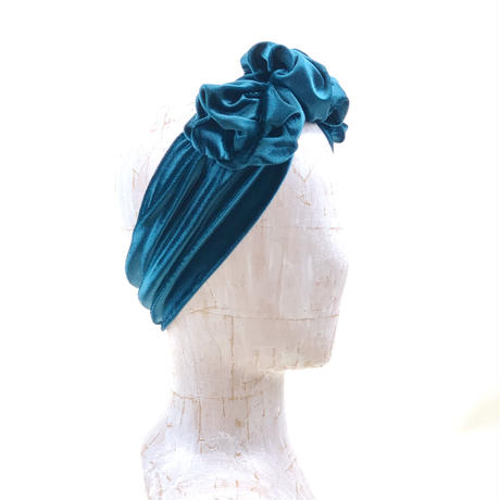stretch velor turban/blue green