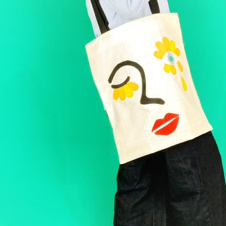cutout tote bag/flower  face
