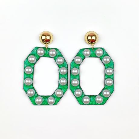 bring bring earrings/metallic green