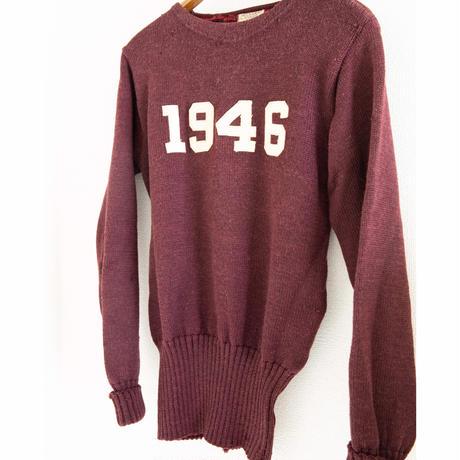 "40's ""SAND KNIT"" Letterd Knit Sweater"