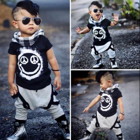 幼児子供赤ちゃん男の子トップスtシャツパンツハーレム2ピースセット衣装セット服1-6Y