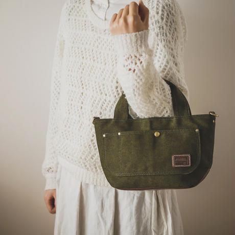 小さな帆布トートバッグ【バッカス緑/オイルブラウン】