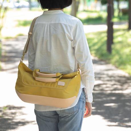 横長たっぷり帆布トートバッグ【イエロー/白ヌメ】