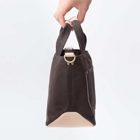 小さな帆布トートバッグ【ブラウン/白ヌメ】