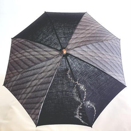 イギリス刺繍入り播州織の折りたたみ日傘