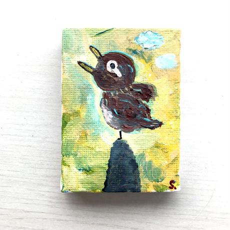 【だ-4】「春だガビチョウ」画眉鳥の絵 ST126