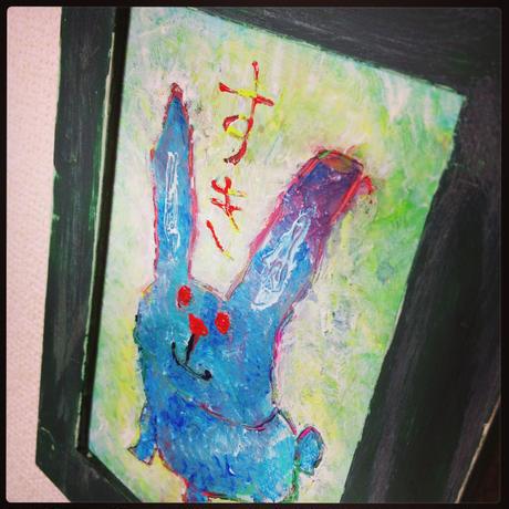 ST053ウサギの絵「すき」