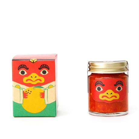 【吹屋の紅てんぐ 】柚子果汁と唐辛子で作った唐辛子ソース。果汁の酸味と唐辛子の辛味のハーモニー。洋食・中華料理にオススメ。