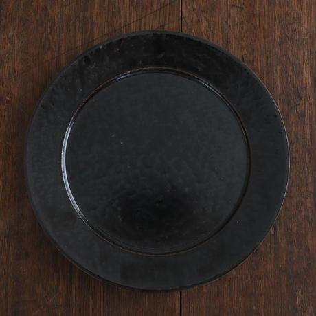 高島悠吏 黒釉リム平皿M