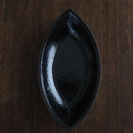 高島悠吏 黒釉舟形皿M