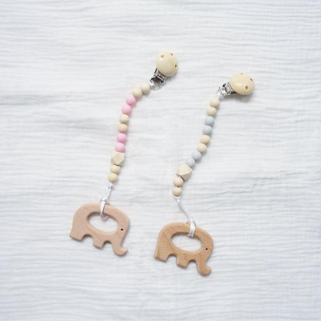 Wooden Teether Toys Natural Baby Teething Ring Clip   / Elephant