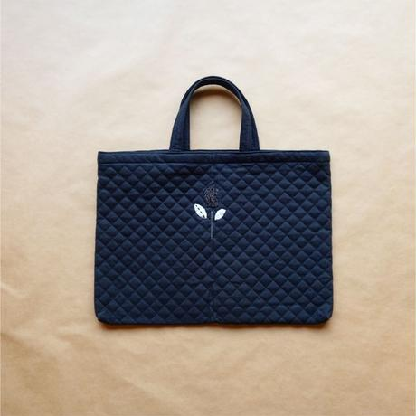 Tulip Embroidery  Quilted Bag /  Black