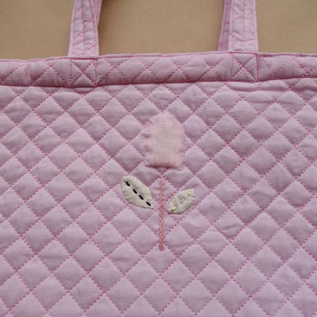 Tulip Embroidery  Quilted Bag  /  Pink