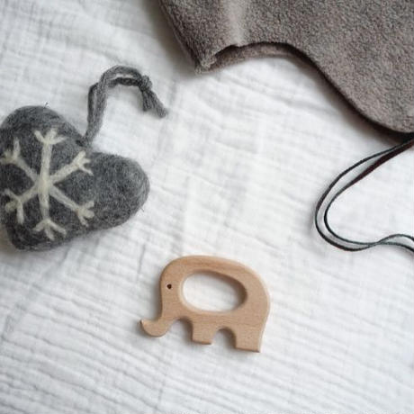 Wooden Teether Toys Natural Baby Teething Ring /  Elephants