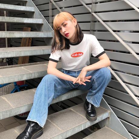 """【受注生産】""""SCAB CLUB Oval Logo Ringer T-Shirt """" WHITE"""