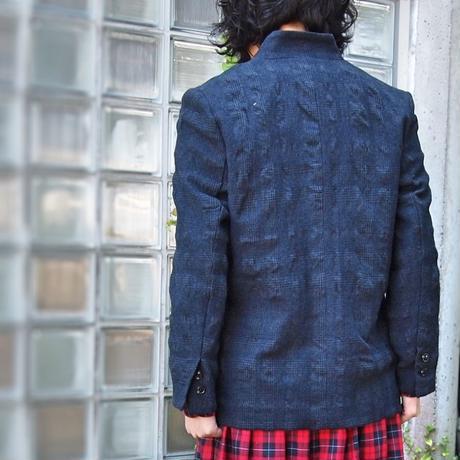 ウールコットン グレンチェックジャケット<18303-JK/NEVY>