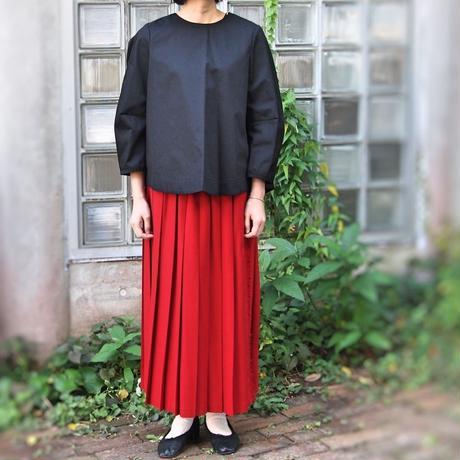 ラップ風  2/60ハイカウントフラノ プリーツスカート<17301-PS/CHERRY>