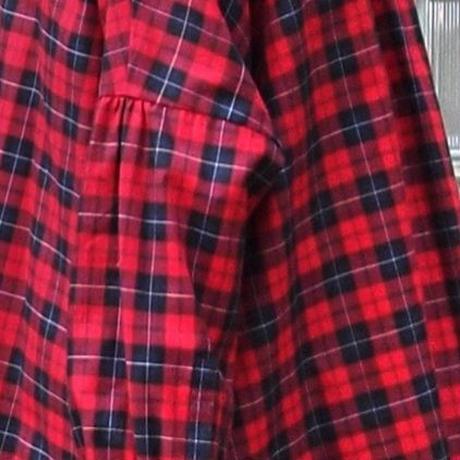 ツイルタータンチェック スタンドシャツ<18307-SH / RED>