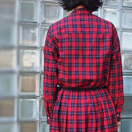 ツイルタータンチェック ワイドシャツ<18314-SH / RED>