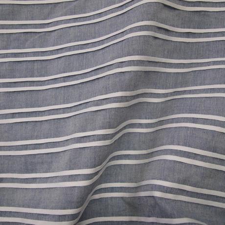 ピンタックボーダー 布帛バスクシャツ<16122-BL>